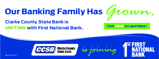 Clarke County State Bank is uniting with First National Bank